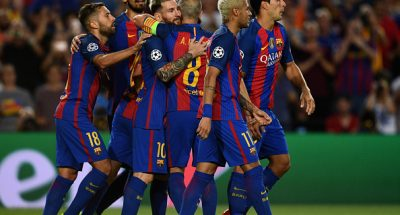 BARCELONA, SPAIN - SEPTEMBER 13:  Lionel Messi of Barcelona celebreates scoring his third and his sides fifth goal with team mates during the UEFA Champions League Group C match between FC Barcelona and Celtic FC at Camp Nou on September 13, 2016 in Barcelona, Spain.  (Photo by David Ramos/Getty Images)