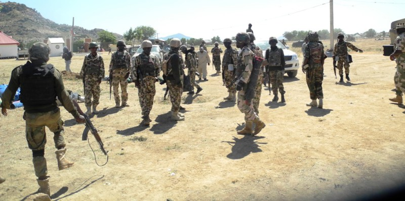 PIC. 1.  MEN OF THE 115 TASK FORCE  THAT  RECAPTURED MUBI FROM INSURGENTS  AT THEIR BASE IN MUBI, ADAMAWA STATE ON MONDAY (8/12/14) 6172/8/12/14/YMU/AIN/NAN