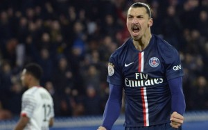 Paris Saint-Germain's Swedish forward Zl...Paris Saint-Germain's Swedish forward Zlatan Ibrahimovic celebrates after his teammate,  Argentinian midfielder Ezequiel Lavezzi (C) opened the scoring during the French L1 football match Paris Saint-Germain (PSG) vs Rennes (SR) on January 30, 2015 at the Parc-des-Princes stadium in Paris. AFP PHOTO / MIGUEL MEDINAMIGUEL MEDINA/AFP/Getty Images