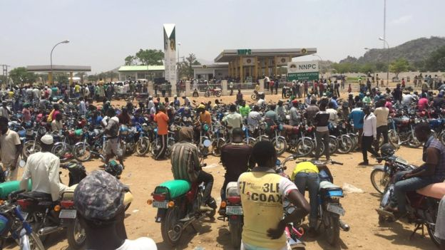 Bikers waiting at a fuel station in northern Nigeria - April 2016