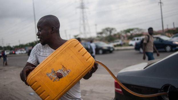 A black market trader in Lagos, Nigeria - 6 April 2016