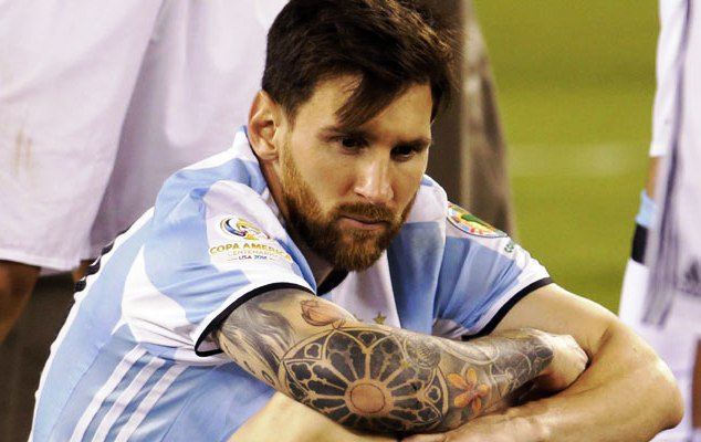 A sad Mess in deep thoughts after Argentina lost to Chile in the finals of the Copa America Centenario in the USA